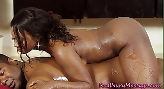 Ebony masseuse plunged